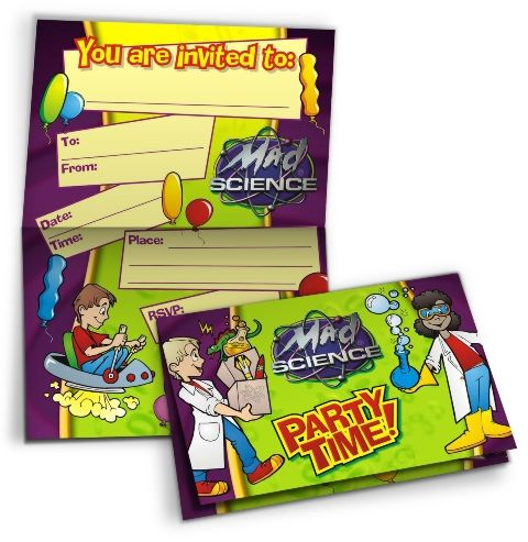 Air Blast Ages 58 – Mad Scientist Birthday Party Invitations