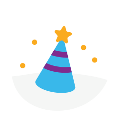 Blue birthday party hat with 2 purple stripes and a yellow star on top.